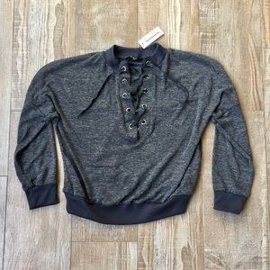 CBR Boutique 🌙Charcoal Slouchy Lace Front Sweater